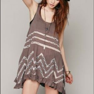Free people voile and lace trapeze slip dress